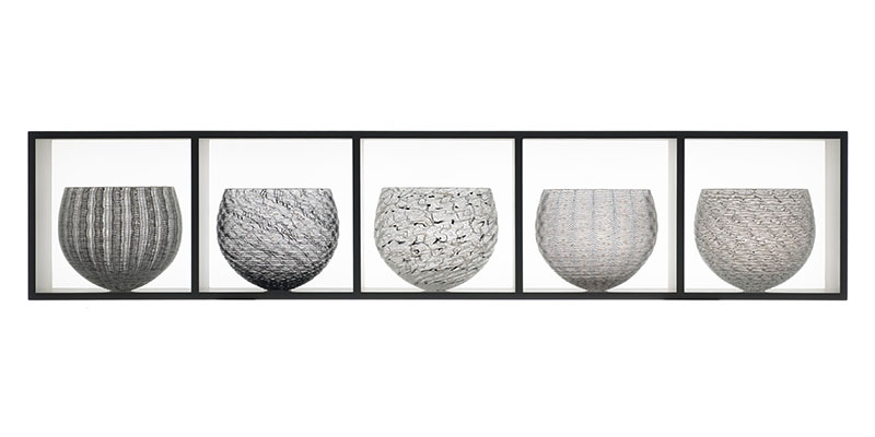 3) 5 part Nest Collection, b&w, 106x22x21 cm