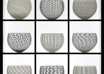 3) 9 part Nest Collection, 64x64x21 cm