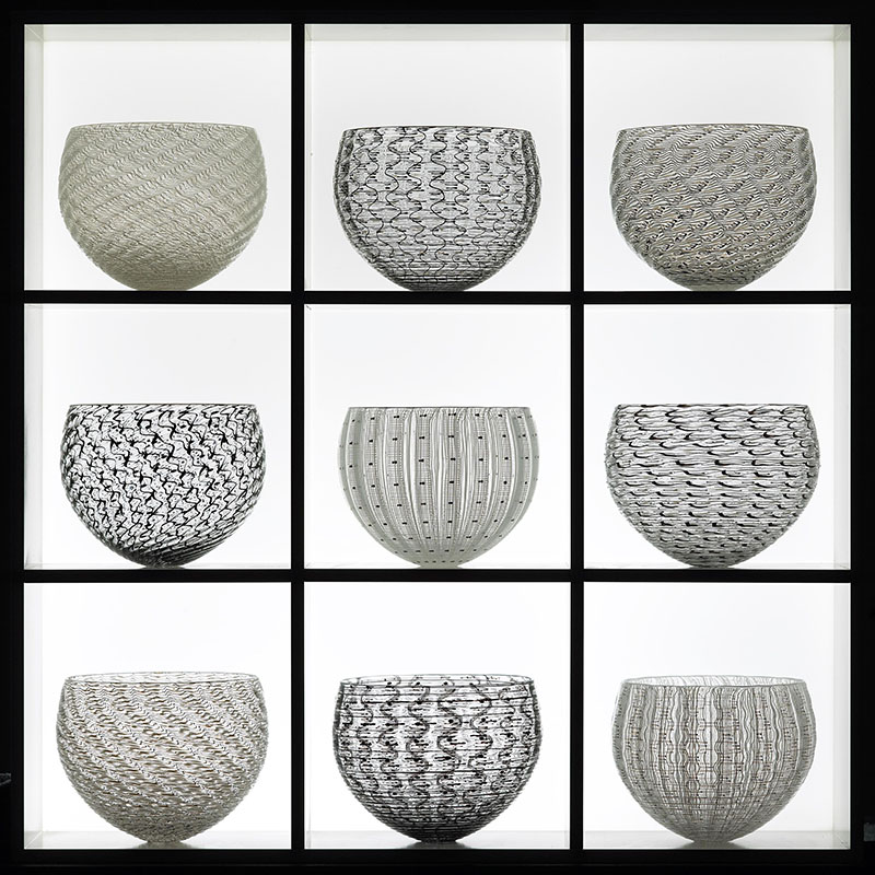 3) 9 part Nest Collection, 64x64x21 cm